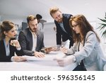 business people and architects... | Shutterstock . vector #596356145