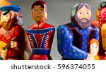 many colored wooden people... | Shutterstock . vector #596374055