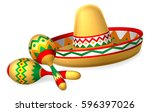 a mexican sombrero hat and... | Shutterstock .eps vector #596397026