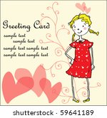 greeting card with girl and... | Shutterstock .eps vector #59641189