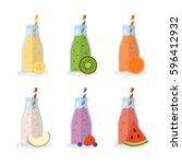 set of smoothies or milkshakes... | Shutterstock .eps vector #596412932