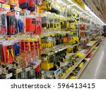 many kind of wrenches on the... | Shutterstock . vector #596413415