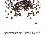 Black Pepper Corns On White...