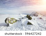 beautiful winter landscape of... | Shutterstock . vector #596427242