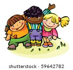 happy children of different... | Shutterstock .eps vector #59642782
