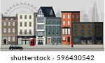street landscape with apartment ... | Shutterstock .eps vector #596430542