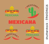 mexican food logo. mexican fast ... | Shutterstock .eps vector #596434616