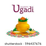 happy ugadi  holiday set ... | Shutterstock .eps vector #596437676