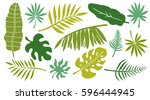 leaves set. tropical plants...   Shutterstock .eps vector #596444945