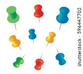 push pins set vector... | Shutterstock .eps vector #596447702
