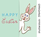 greeting card happy easter with ... | Shutterstock .eps vector #596454665