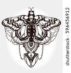 bohemian elegant hand draw work ... | Shutterstock .eps vector #596456912