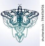 bohemian elegant hand draw work ... | Shutterstock .eps vector #596456936
