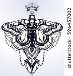 bohemian elegant hand draw work ... | Shutterstock .eps vector #596457002