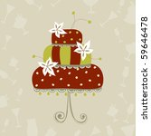 greeting card with wedding cake | Shutterstock .eps vector #59646478