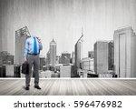 headless engineer man with... | Shutterstock . vector #596476982