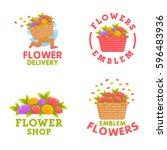 set flowers logo. flower... | Shutterstock .eps vector #596483936