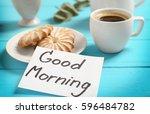 delicious breakfast and good... | Shutterstock . vector #596484782