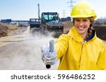 young woman on a building site... | Shutterstock . vector #596486252