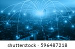 business networking connection... | Shutterstock . vector #596487218