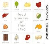 food sources of iron  vector... | Shutterstock .eps vector #596493092