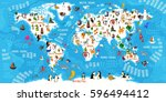 Stock vector cartoon animal world map animals from all over the world oceans and continents great for kids 596494412