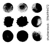 collection of black ink brush... | Shutterstock .eps vector #596494472