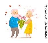 vector flat portrait of old... | Shutterstock .eps vector #596496752