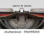 conflict of interest word typed ... | Shutterstock . vector #596498345