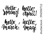hello  spring  march  april ... | Shutterstock .eps vector #596500712