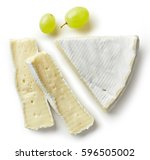 piece of brie cheese isolated... | Shutterstock . vector #596505002