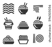 noodle icons. asian food bar... | Shutterstock .eps vector #596505056