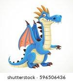 cute cartoon blue dragon... | Shutterstock .eps vector #596506436