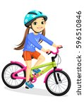 happy little girl in helmet... | Shutterstock .eps vector #596510846