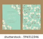 wedding invitation. floral... | Shutterstock .eps vector #596512346