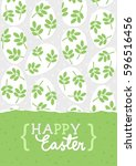 happy easter card with messy... | Shutterstock .eps vector #596516456