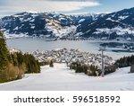 sunny view of ski slope near... | Shutterstock . vector #596518592