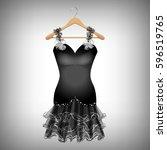 little black dress on hanger | Shutterstock .eps vector #596519765