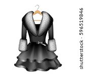 black dress with fur collar and ... | Shutterstock .eps vector #596519846