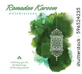 ramadan greetings background.... | Shutterstock .eps vector #596524235