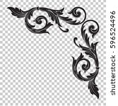 corner ornament in baroque...   Shutterstock .eps vector #596524496
