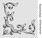 corner ornament in baroque... | Shutterstock .eps vector #596524556