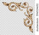 corner ornament in baroque... | Shutterstock .eps vector #596524652
