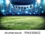 football pitch with green grass ... | Shutterstock . vector #596530832