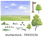 Create your own watercolor landscape collection. Summer elements. - stock photo