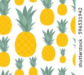 pineapple natural seamless... | Shutterstock .eps vector #596531942