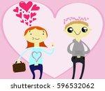 Cartoon Cutie Girl And Boy Fal...