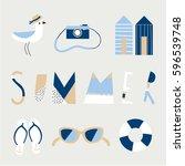 fun patch summer set. vector... | Shutterstock .eps vector #596539748
