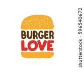 Burger Love Vector Sign  Hand...