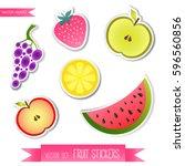 collection of vector fruit... | Shutterstock .eps vector #596560856